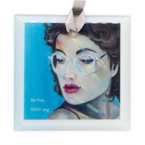 """Be You"" Frosted Glass Ornament"