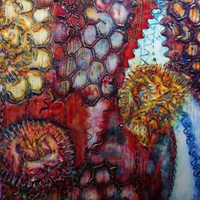 Fire Garden, mixed media 6 x 6 sold