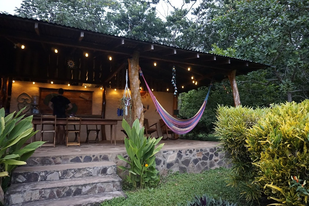 Lounge in the dining area at Finca Mystica on Ometepe