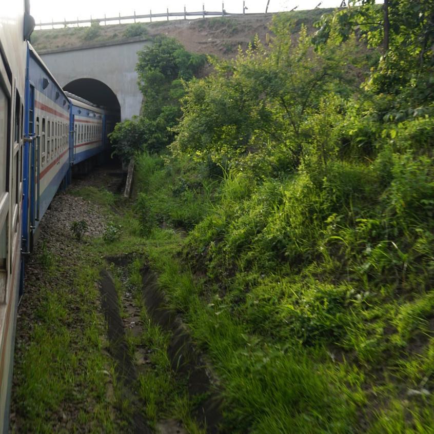 Tazara Train Going Through Tunnel