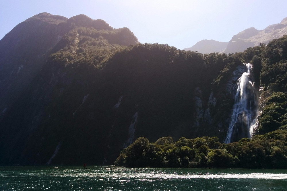 Waterfall in Milford Sound Fjordland