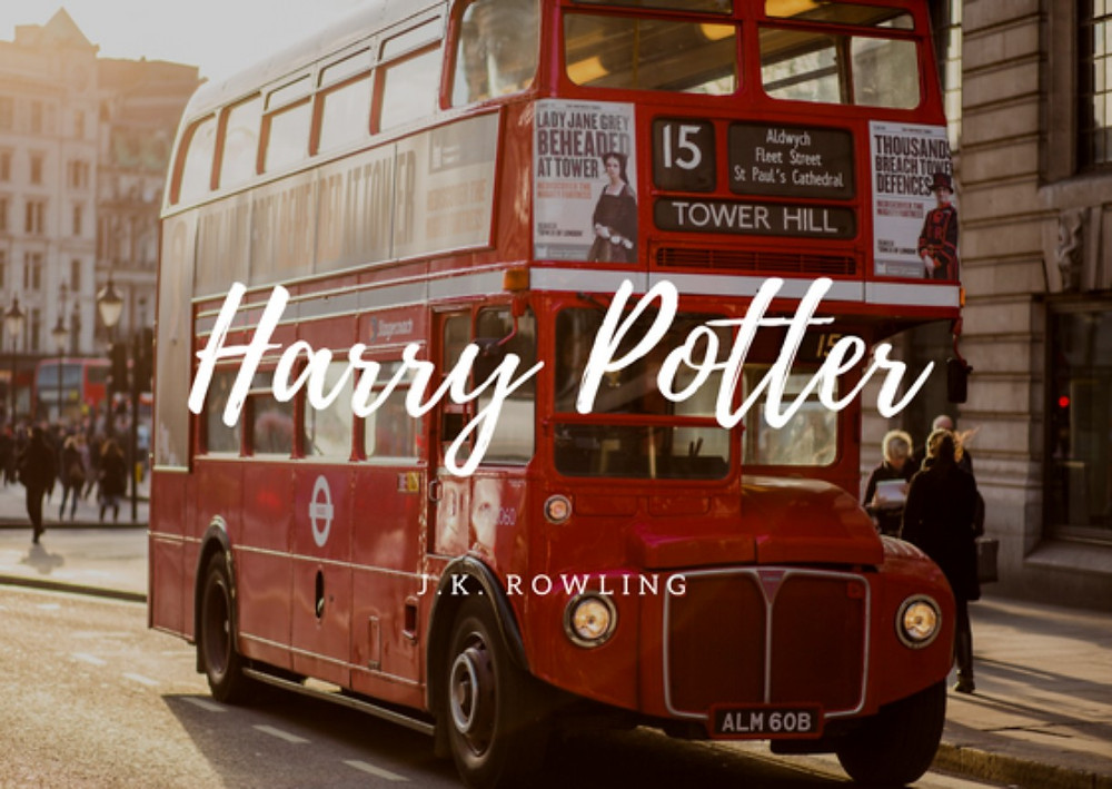 British double decker bus with Harry Potter written on top