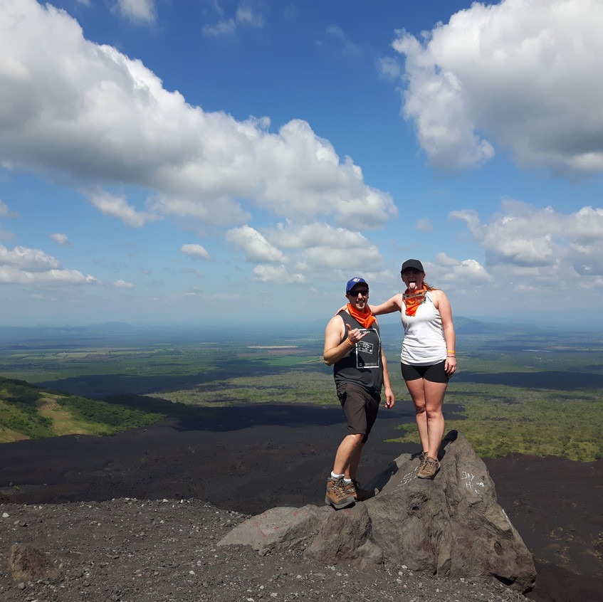 Missy and Lucas on top of Cerro Negro