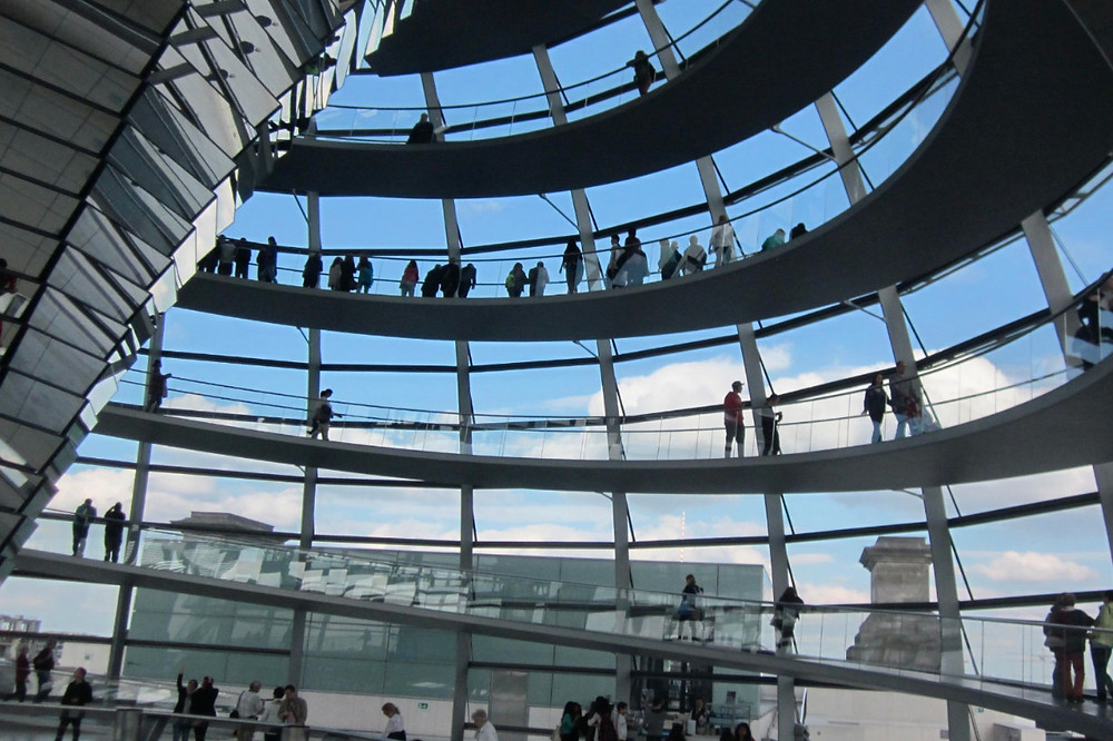 People walking in the Reichstag dome
