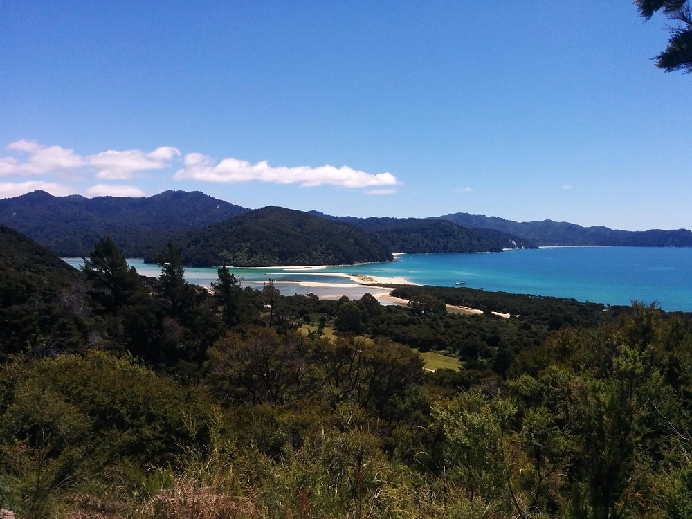 Aqua blue water of the Abel Tasman Coastal Track with sandy beaches