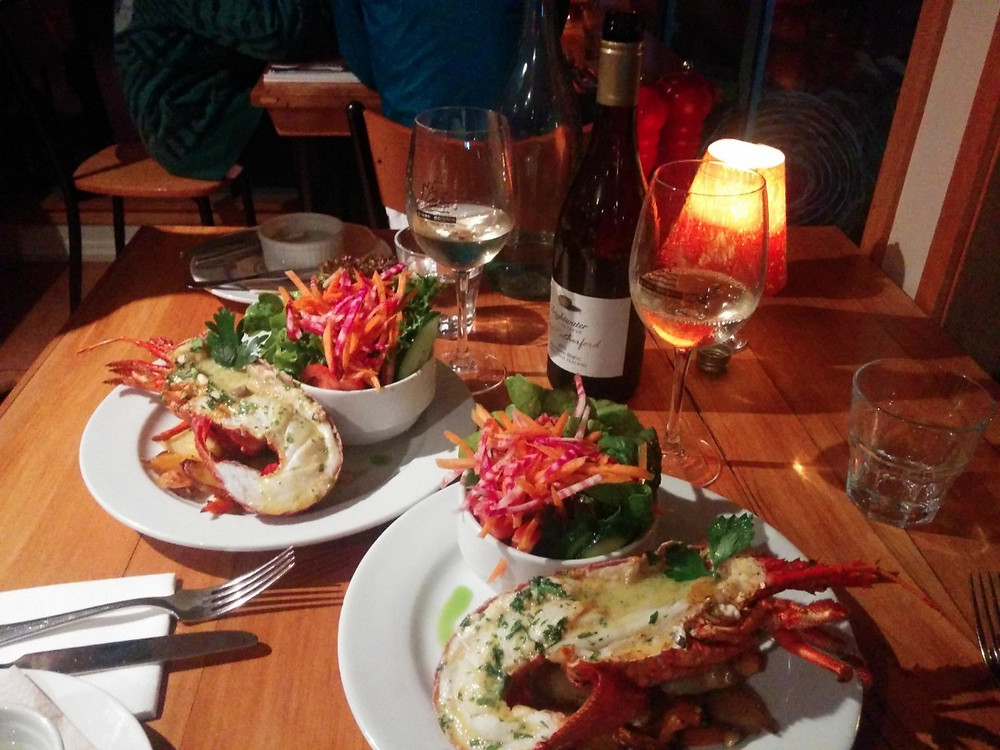 Crayfish and white wine at the Green Dolphin in Kaikoura, New Zealand