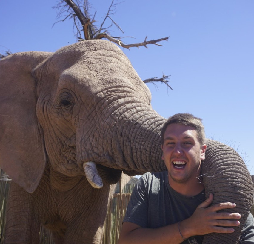 Elephant hugging Lucas