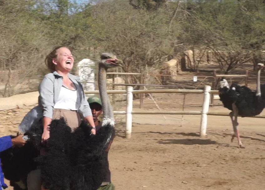 Missy riding ostrich at Oudtshoorn