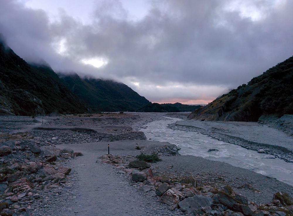 Foggy river landscape at Franz Josef Glacier