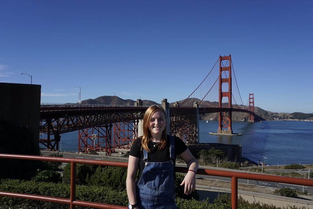 Missy in front of the Golden Gate Bridge