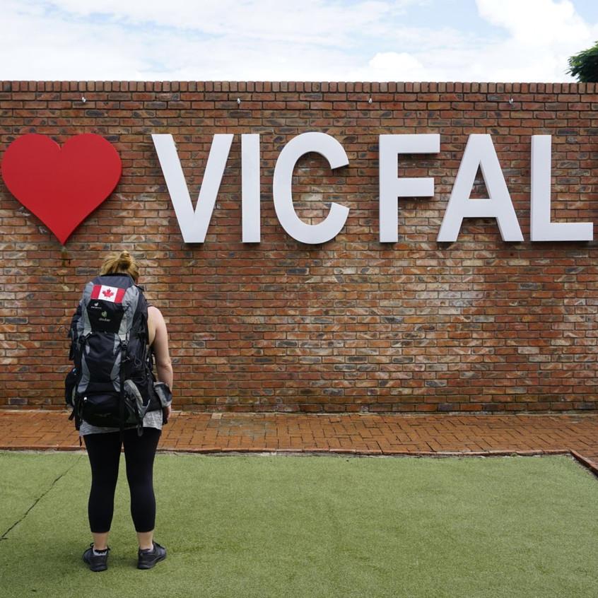 I Love Victoria Falls Sign, Zimbabwe