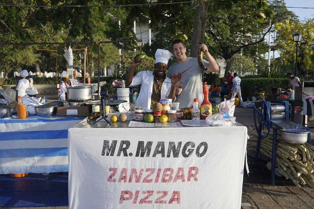 Lucas with Mr. Mango Zanzibar Pizza