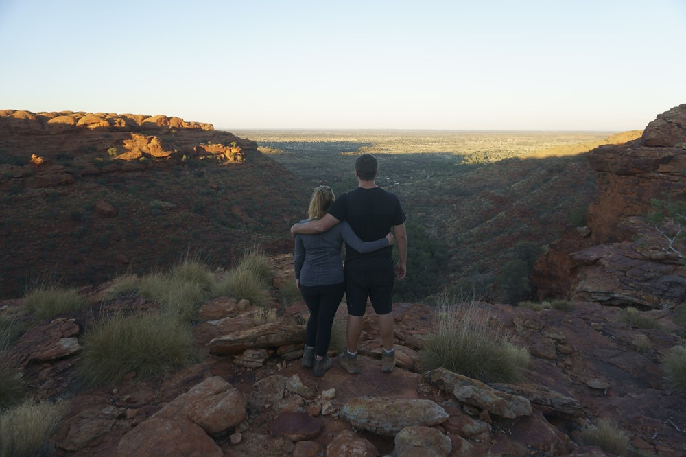 Missy and Lucas overlooking Kings Canyon at sunrise