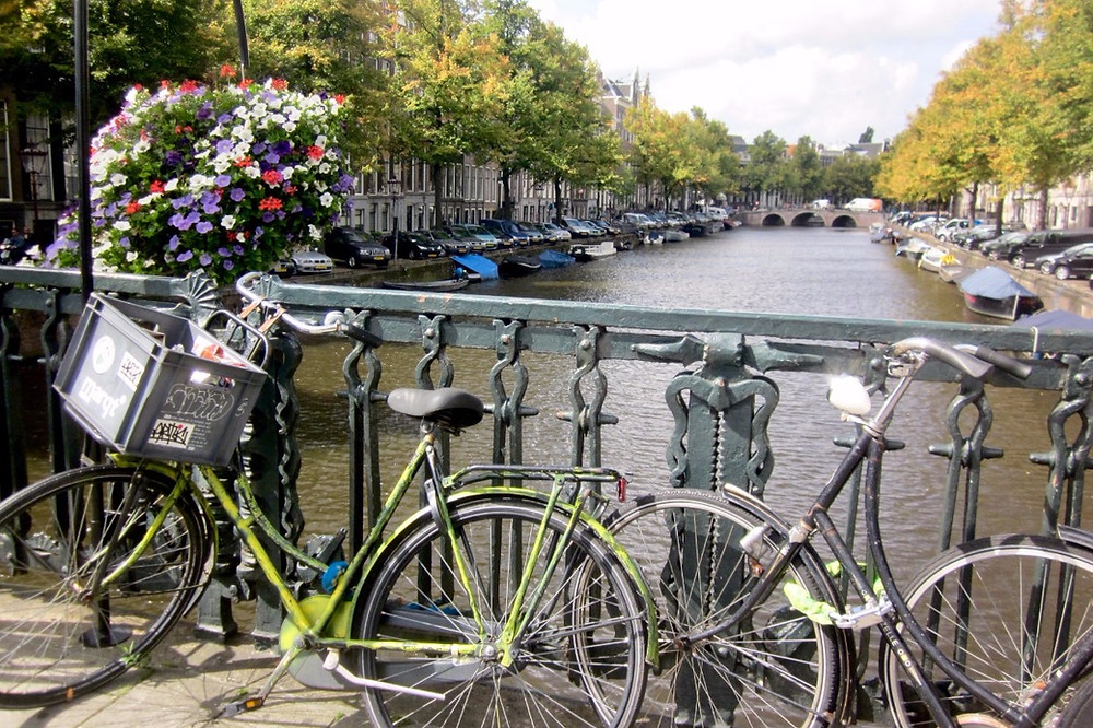 Bikes in front of Amsterdam canal