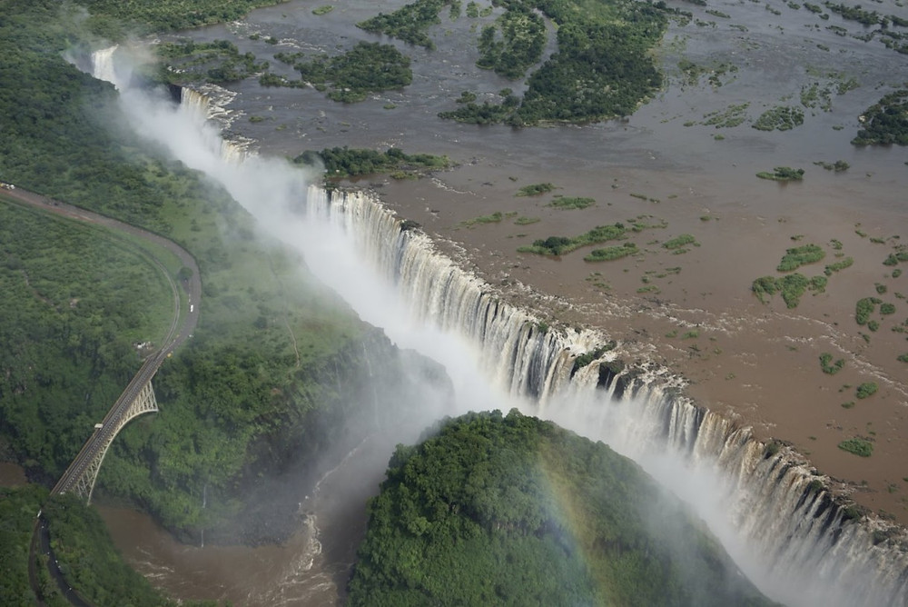 Victoria Falls from helicopter
