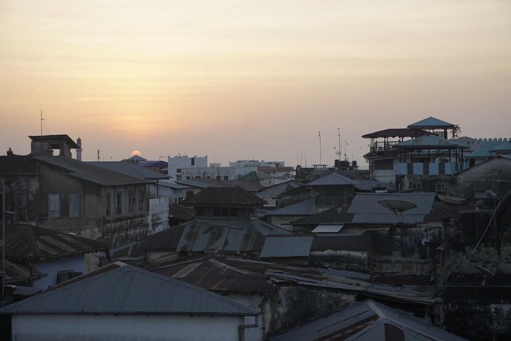 View of Stone Town, Zanzibar, Tanzania at sunset