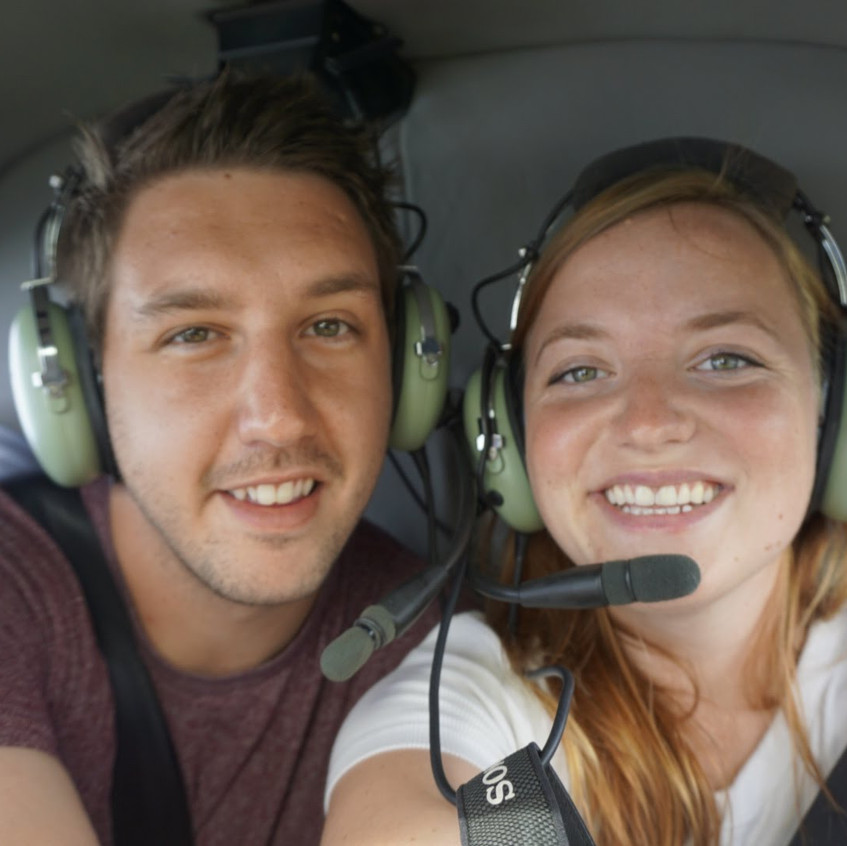 Lucas and Missy in Helicopter