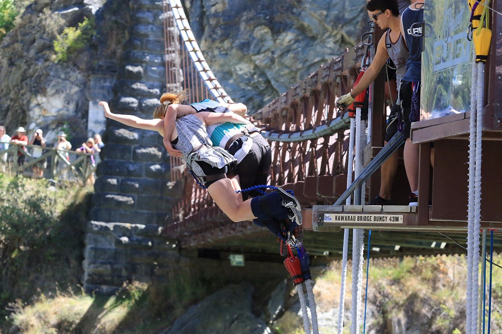 Missy and Lucas jumping tandem from Kawarau Bridge Bungy