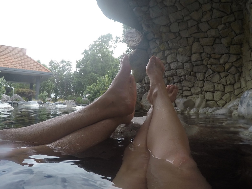 Legs up at Polynesian Spa relaxing