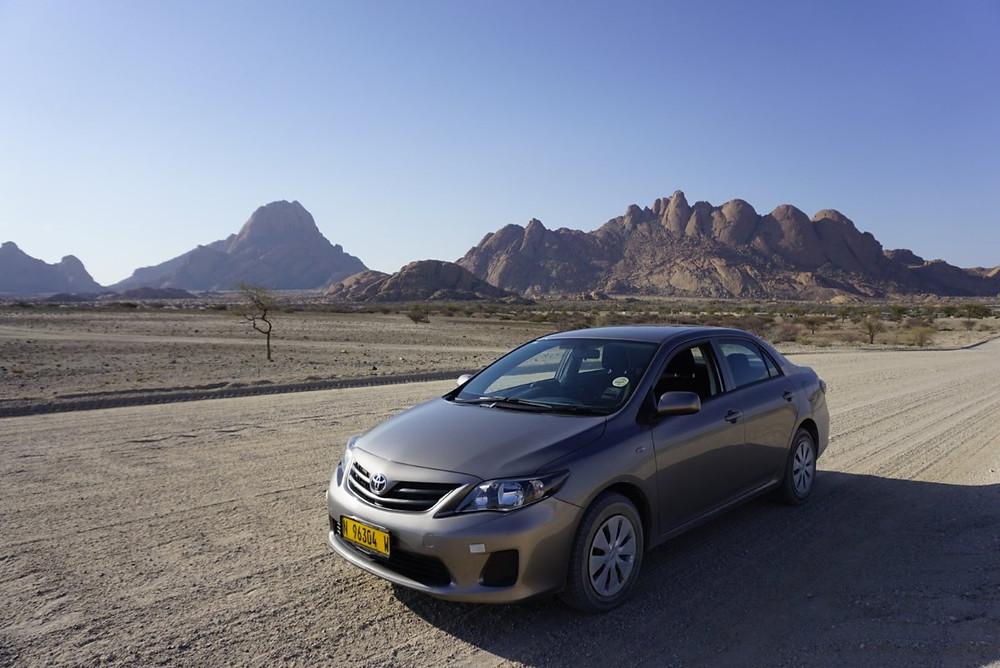 Our Toyota Corolla rental by Spitzkoppe, Namibia
