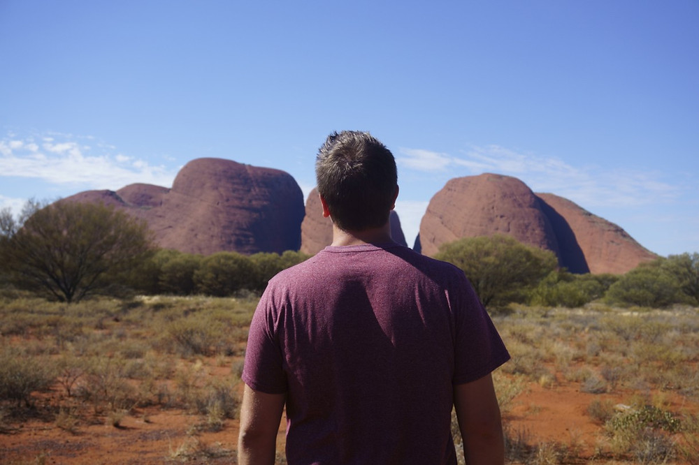 Lucas in front of Kata Tjuta in Australia