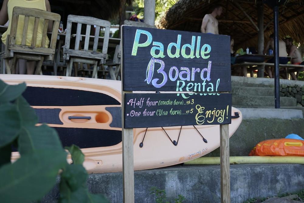 Paddle board rental at Laguna de Apoyo in Nicaragua