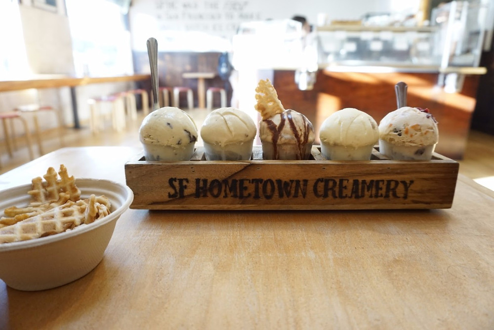SF Hometown Creamery flight of ice cream