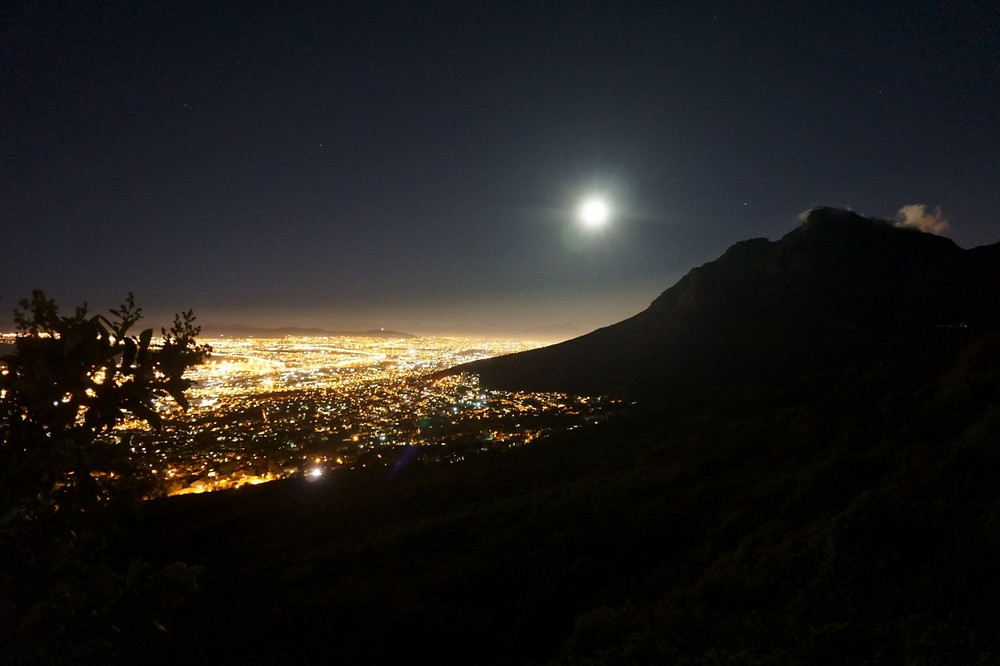 Full moon night from Table Mountain, Cape Town skyline