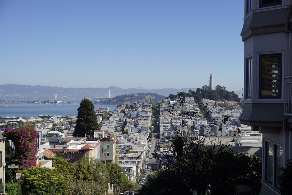 View looking down Lombard Street