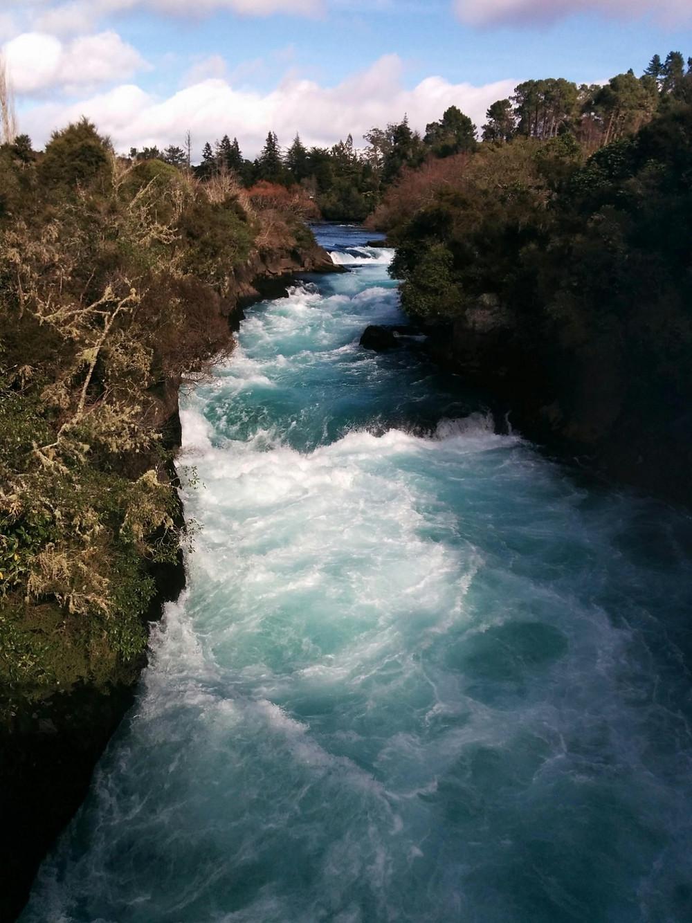 Aqua blue river at Huka Falls