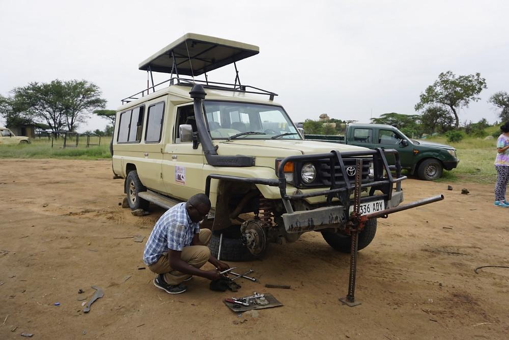Broken down safari car