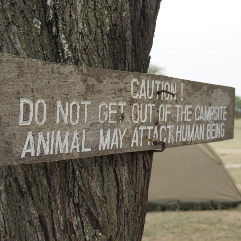 Warning Campsite in Serengeti National Park