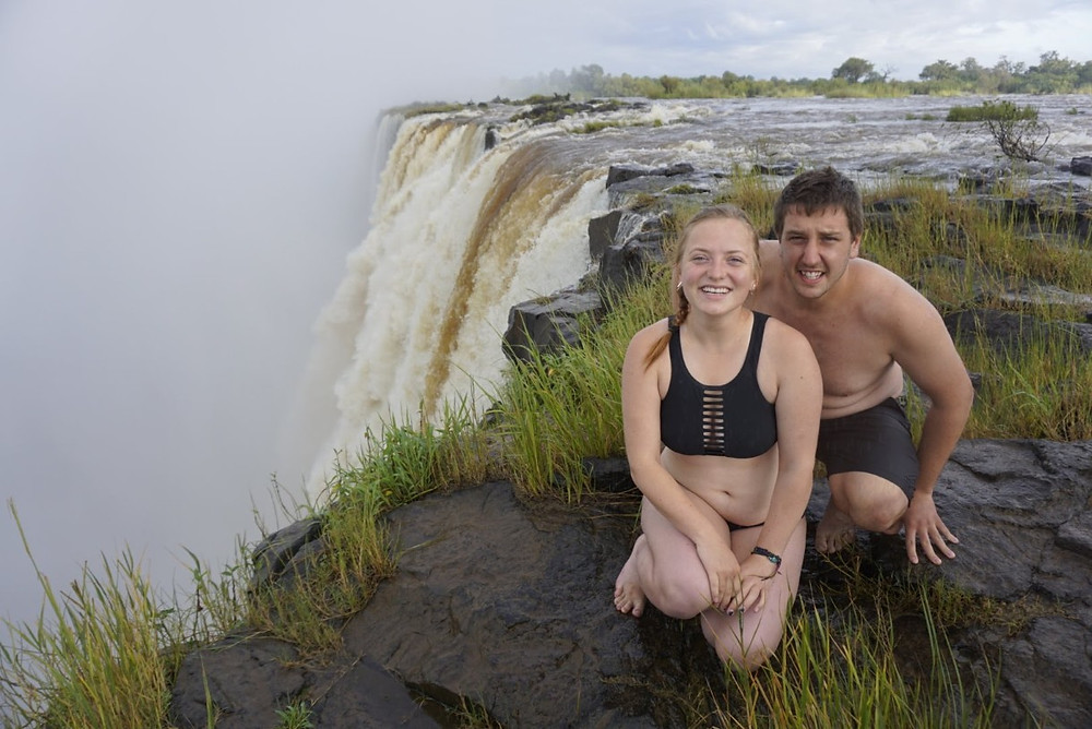 Missy and Lucas on the edge of Victoria Falls