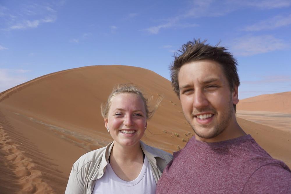 Missy and Lucas at Dune 45 Sossuvlei, Namibia