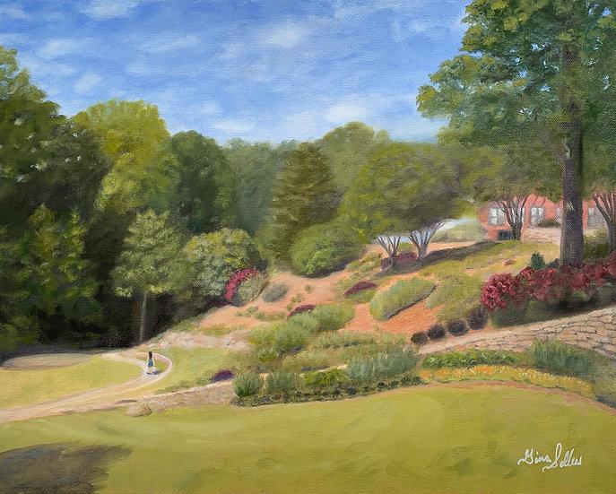 Wandering Through the Park  20 x 16  Oil On Canvas