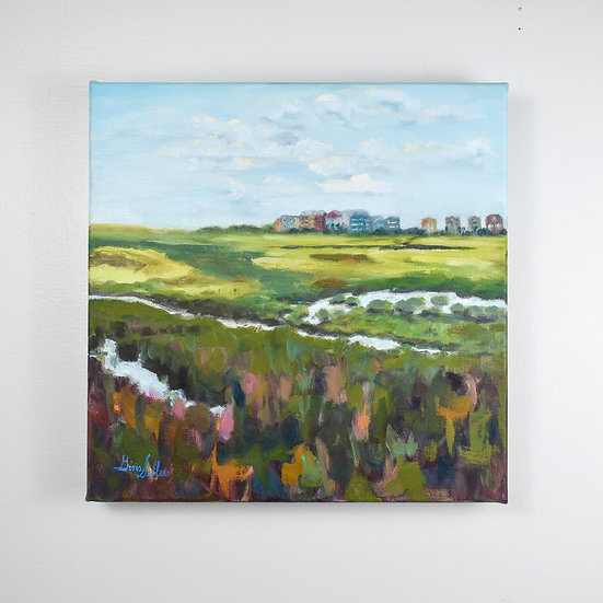 Just Over the Marsh   12 x 12 Oil on canvas