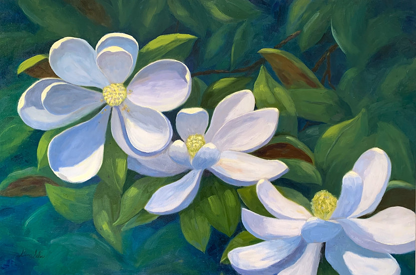 Unframed -  Dancing Magnolias   36 x 24 Oil on Canvas