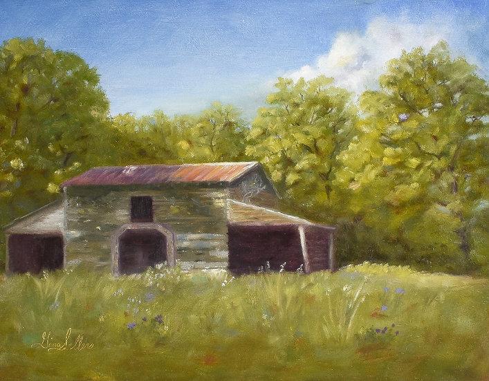 Ruby's Barn  14 x  11 Oil On Wood