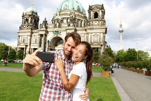 Two German students taking a selfie in Berlin after their intensive German courses in London