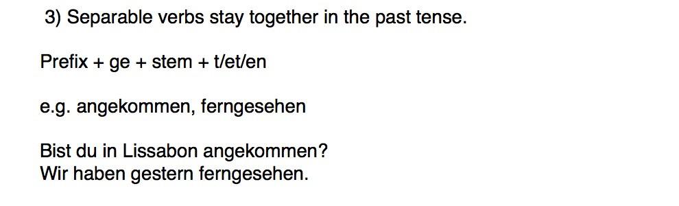 Separable verbs in the Perfekt tense in German