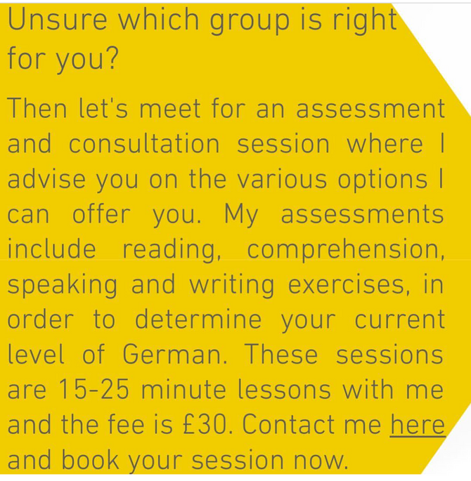 Test your German and join one of my small group classes