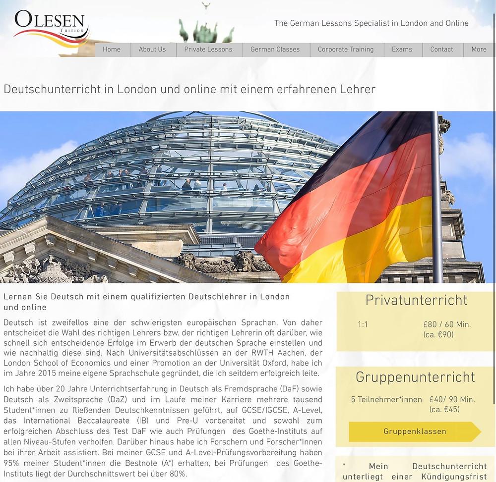 Deutschunterricht online website by Olesen Tuition