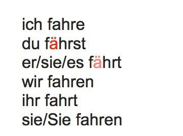 Conjugation of the verb fahren in the present tense