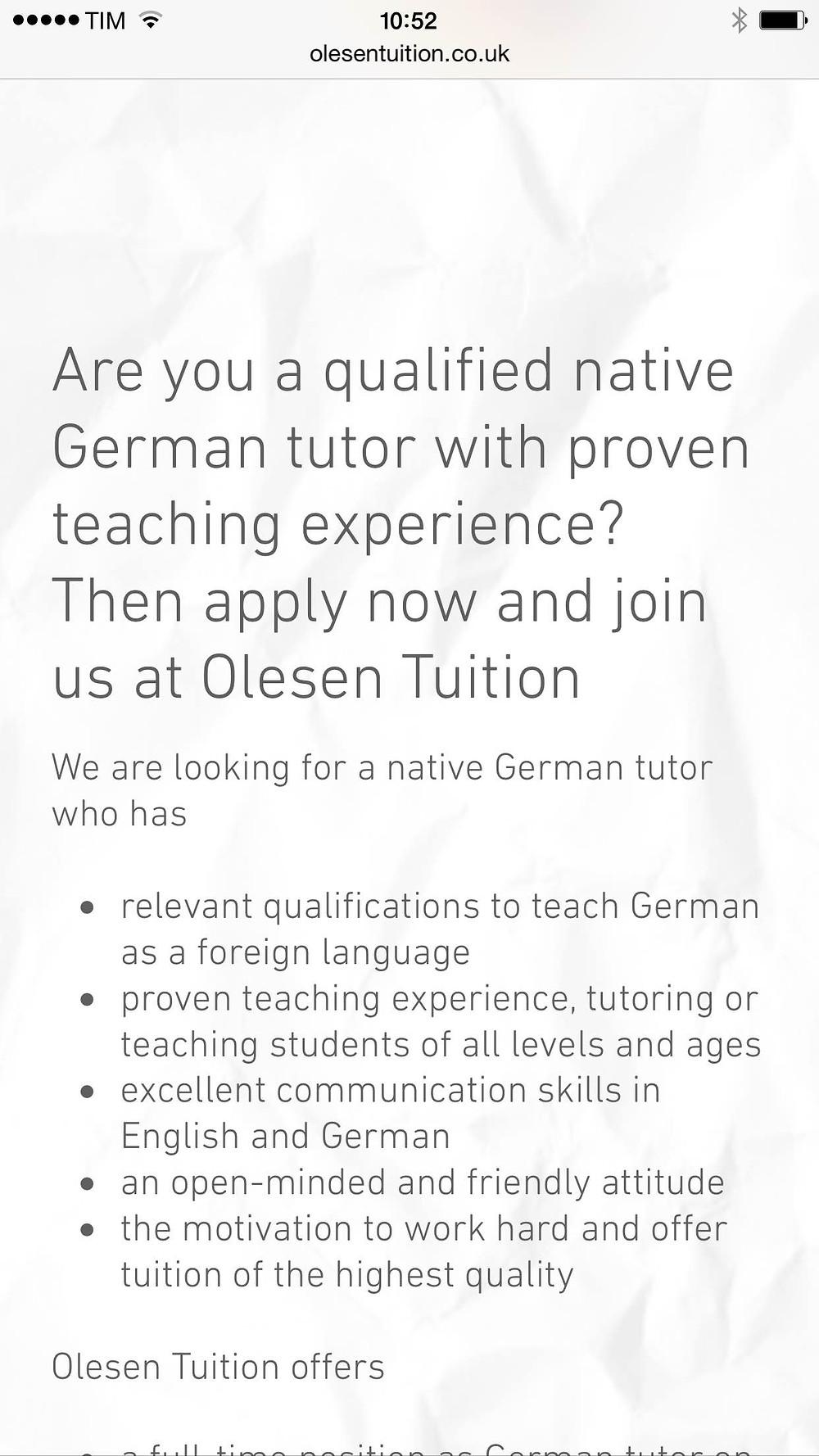 German tutor jobs, German teacher jobs, London, Deutschlehrer London, Deutsch als Fremdsprache London