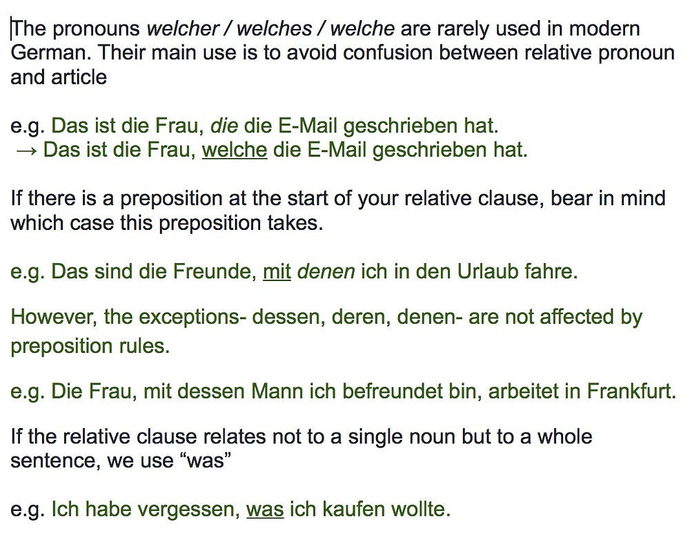 Relative clauses rules in German