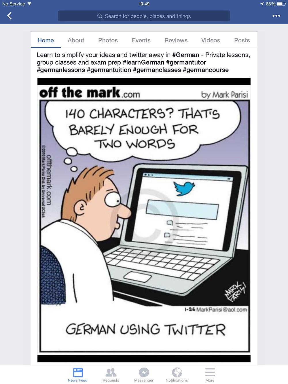 Twitter in German, learn German