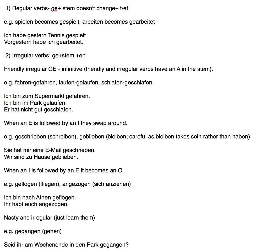 Perfekt tense in German - regular and irregular verbs