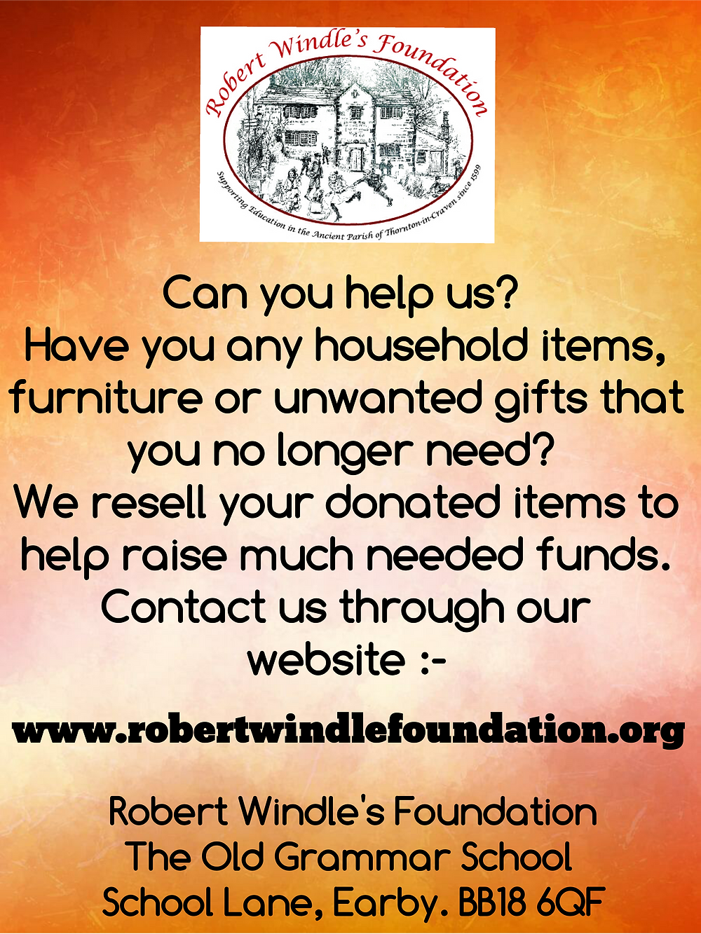 Robert Windle's poster asking for donations