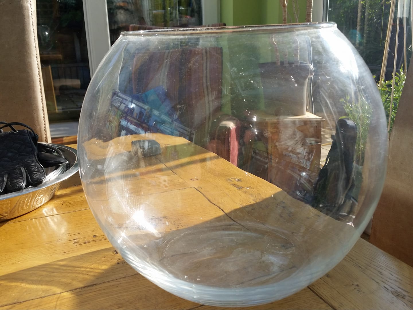 Glass gold fish bowl/candle holder
