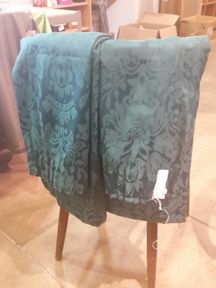Green brocade curtains
